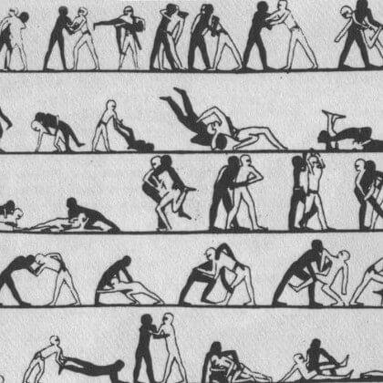 Alte ägyptische Darstellung des Ringens
